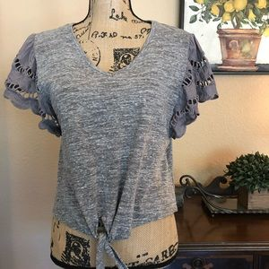 🌿EUC MAURICES GRAY EYELET SLEEVE~ FRONT KN…